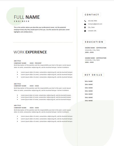 Engineering resume